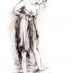 Digitalt Grafisk Arbeid av kunstner Fritz Helge Nyegaard - tittel: Badende pike