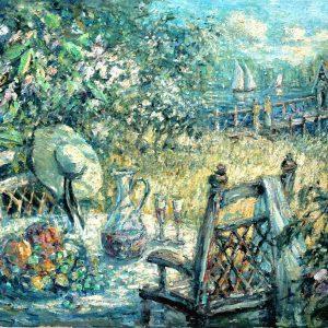 Digitalt Grafisk Arbeid av kunstner Fritz Helge Nyegaard - tittel: Fruktblomstring ved elven