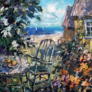 Digitalt Grafisk Arbeid av kunstner Fritz Helge Nyegaard - tittel: Gult strandhus