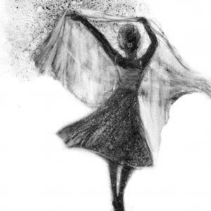 Digitalt Grafisk Arbeid av kunstner Fritz Helge Nyegaard - tittel: Liten ballerina