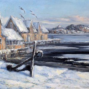 Digitalt Grafisk Arbeid av kunstner Fritz Helge Nyegaard - tittel: Vinter på Sukkerstranda