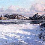 Digitalt Grafisk Arbeid av kunstner Fritz Helge Nyegaard - tittel: Vinter på Kronprinstomta