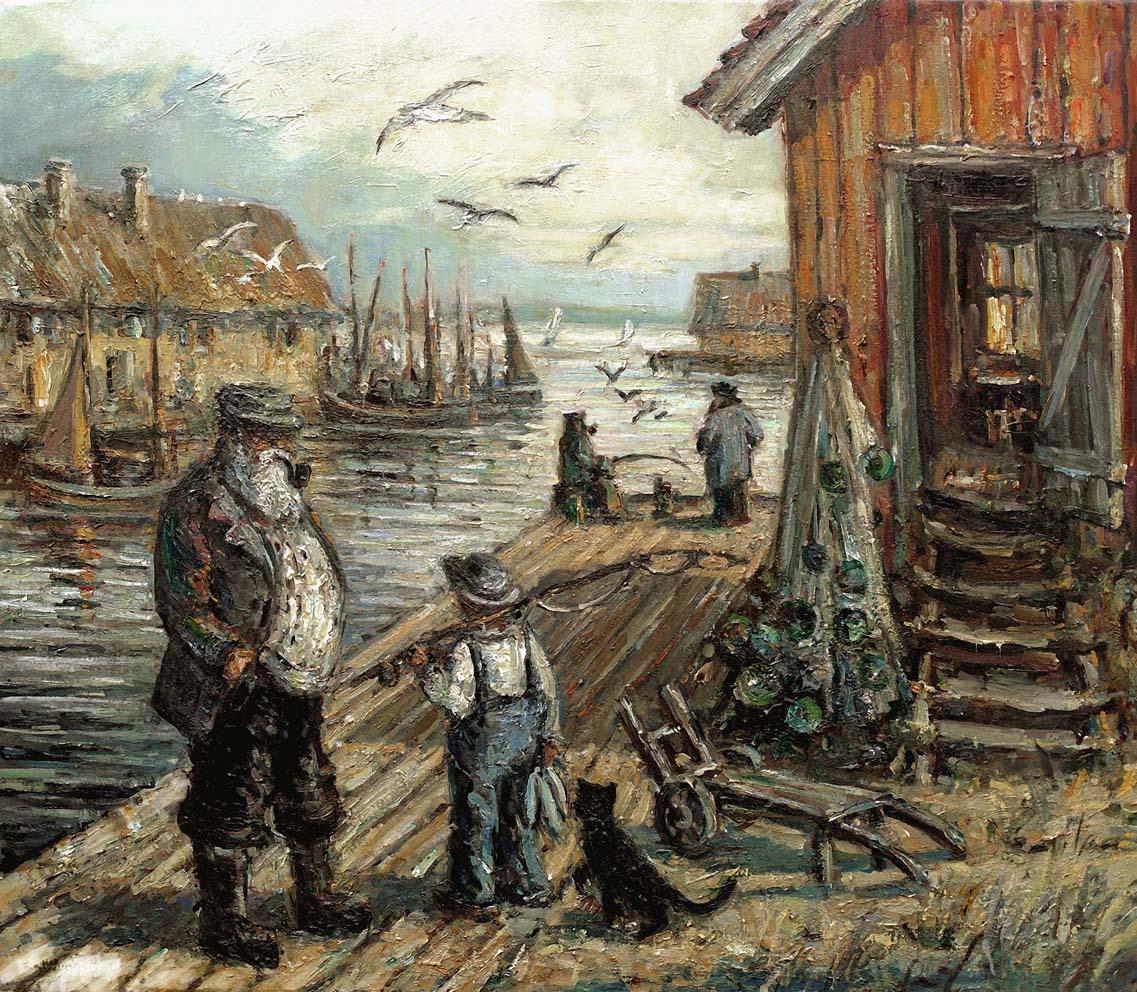Digitalt Grafisk Arbeid av kunstner Fritz Helge Nyegaard - tittel: Bryggeprat