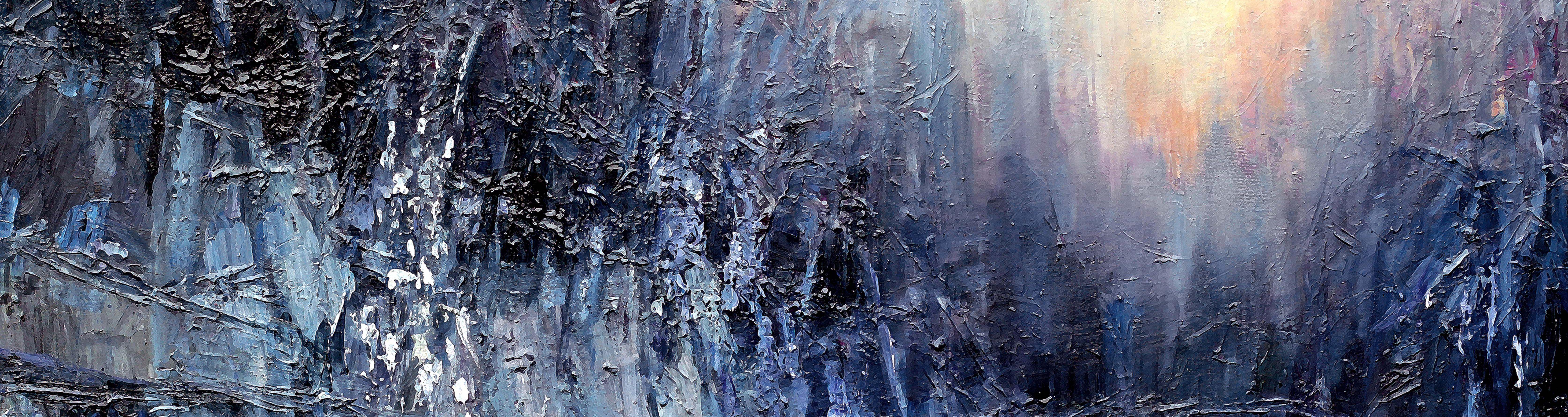 Digitalt Grafisk Arbeid av kunstner Fritz Helge Nyegaard - tittel: Blå krystaller forside