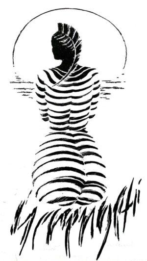 Digitalt Grafisk Arbeid av kunstner Fritz Helge Nyegaard - tittel: Masaikvinne