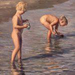 Digitalt Grafisk Arbeid av kunstner Fritz Helge Nyegaard - tittel: Småfolk på stranden