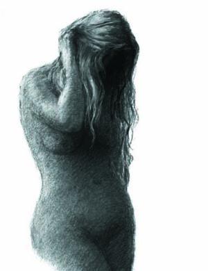 Digitalt Grafisk Arbeid av kunstner Fritz Helge Nyegaard - tittel: Mørk kvinne