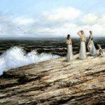 Digitalt Grafisk Arbeid av kunstner Fritz Helge Nyegaard - tittel: Kystens døtre