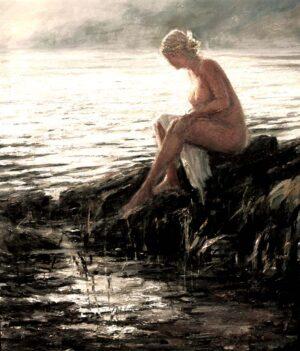 Digitalt Grafisk Arbeid av kunstner Fritz Helge Nyegaard - tittel: Før badet