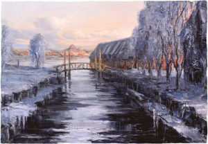 Digitalt Grafisk Arbeid av kunstner Fritz Helge Nyegaard - tittel: Vinter i kanalen